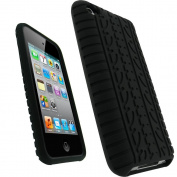 iGadgitz Black Silicone Skin Case Cover with Tyre Tread Design for iPod Touch 4th Generation 4G 8GB, 32GB & 64GB + Screen Protector