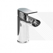 Lou Modern Bathroom Basin Waterfall Mixer Tap with Waste - 10 Year Guarantee