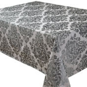 Palazzo Damask Pewter (Grey-Silver) Christmas Rectangular Tablecloth Ideal For 4-6 Place Settings