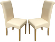 Set of 2 Cream Faux Leather Scroll Top Dining Chairs With Padded Seat & Oak Finish Legs
