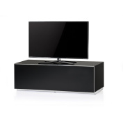 Sonorous EX12-BLK Luxury Glass and Wood Ready Assembled Cabinet with hidden IR Repeater System for TV's up to 150cm .