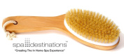"""Natural Bristle Body Brush with Wooden Handle by Spa Destinations® """"Creating The In Home Spa Experience"""" Best Quality! Best Value!"""