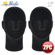 2PC Male 28cm STYROFOAM FOAM Black Velvet Like MANNEQUIN MANIKIN head wig display hat glasses