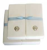 Disposable Guest Hand Towesl with Ribbon - Embossed with a Silver Shell - 50ct