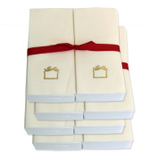 Disposable Guest Hand Towels with Ribbon - Embossed with a Gold Gift - 200ct