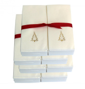 Disposable Guest Hand Towels with Ribbon - Embossed with a Gold Christmas Tree - 200ct