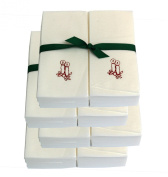 Disposable Guest Hand Towels with Ribbon - Embossed with Red Candles - 200ct