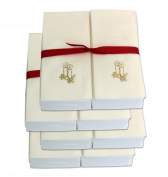Disposable Guest Hand Towels with Ribbon - Embossed with a Gold Candles - 200ct