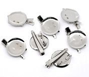 PEPPERLONELY Brand, 20PC Silver Tone Alligator Clip Brooches with Pin 45x30mm