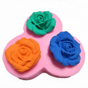 3 Cavity Blooming Roses Silicone Fondant Mould Chocolate Mould Cake Decorating Mould Candy Mould Jelly Mould