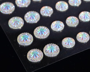 50 Self Adhesive Ab Clear Pointed Faceted Diamante Rhinestone Stick on Gems