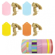 Wrapables Washi Tape + 40 Large Scalloped Multi-Colour Gift Tags with Cut Strings, Cotton Candy and Lollipops, Set of 6
