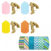 Wrapables Washi Tape + 40 Large Scalloped Multi-Colour Gift Tags with Cut Strings, Riptide, Set of 6