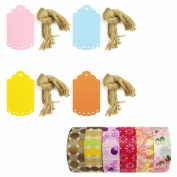 Wrapables Washi Tape + 40 Large Scalloped Multi-Colour Gift Tags with Cut Strings, Modern and Girly, Set of 6