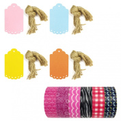 Wrapables Washi Tape + 40 Large Scalloped Multi-Colour Gift Tags with Cut Strings, Pink Assortment, Set of 6