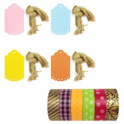 Wrapables Washi Tape + 40 Large Scalloped Multi-Colour Gift Tags with Cut Strings, Imperial Dots Flannel, Set of 6