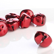 Package of 32 Metallic Red Jingle Bells for Crafting, Decorating, and Embellishing