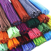 Rimobul Creative Arts Striped Chenille Stem Class Pack, 6 mm x 12 Inch, Assorted Colours, Pack of 100