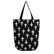 Field of Crosses Print Durable Canvas Tote Bag, Black