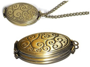 Four Photo Locket Necklace - Ornate Polished Bronze Toned Swirl Locket - 4 Fold Holds 4 Pictures - Old School Geekery TM Photo Locket - Insert Your Own Family Photos or Keepsake Images