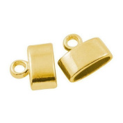 Pack Of 20 x Antique Gold Plated Alloy 3 x 9mm Kumihimo Oval End Caps - (HA03290) - Charming Beads