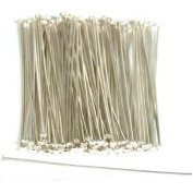 100 Sterling Silver Head Pins Hat Stick Pin Part Findings 5.1cm 22 Gauge