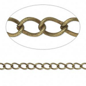 Antiqued Brass Plated Steel Twist Cable 5x3mm Link Jewellery Craft Chain Sold in bulk lot of 10 Metres