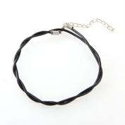 TOOGOO(R) Adjustable Black Leather Anklet Chain Ankle Bracelet HOT
