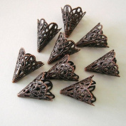 BeadsTreasure 20pcs - Filigree Cone Antiqued Copper Bead Caps 20 mm Jewellery Making Supply.