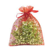 Crafts Organza Gift Bags |10 Bags, Red with Gold Details, Size 18cm x 14cm