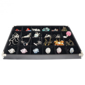 Black Jewellery 24 Compartment Display Case with Silver Decorative Corner, 35x24cm, for Presentation