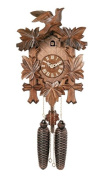 River City Clocks Traditional German Cuckoo Clock with Five Hand-Carved Maple Leaves And One Bird, 36cm Tall