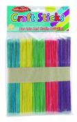 Creative Arts by Charles Leonard Craft Sticks, Jumbo Size, Assorted Colours, 15cm x 1.9cm , 75/Bag