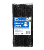 Jumbo Pack 6mm Black Chenille Stems or Pipe Cleaners - 350pcs