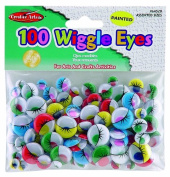 Charles Leonard Wiggle Eyes - Painted - Assorted Sizes/Colours - 100/Bag, 64520