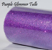 1 X Wedding GLITTER Tulle Roll 15cm x 9.1m PURPLE Sparkling Tulle