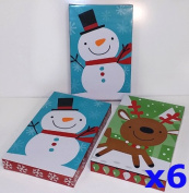 Christmas Gift Boxes, Assortment of Adorable Holiday Themes, with Lids, Tissue Paper, & Gift Tag Stickers