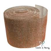 Brown Diamond Mesh Wrap Roll Rhinestone Crystal Ribbon 11cm x 10 yards