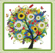 Benway Counted Cross Stitch Colourful Lucky Tree Flowers Tree 14 Count 38cm x 38cm