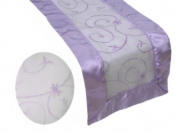36cm x 270cm Table Runner with Satin Edges and Embroidered Organza - Lavender