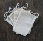 Cotton Muslin Bags 7cm x 10cm Double Drawstring 100 Count Pack