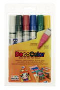 Uchida 300-6A 6-Piece Decocolor Broad Point Paint Marker Set