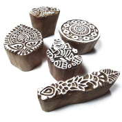 Hand Carved Wooden Tags for Block Printing Floral Designs