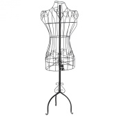Designers Black Metal Adjustable Height Wire Frame Dress Form Display Stand with Garment Bag