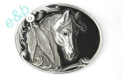 Brand:e & b Single Horse Head Western Style with Feathers Belt Buckle Wt-057bk