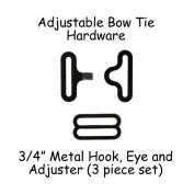 Adjustable Bow Tie Hardware Clips - 1.9cm Black Metal - 10 Sets