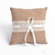 Linen Ribbon Lace Bow Ring Bearer Pillow