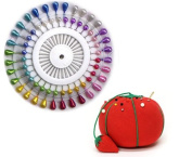 40 Pieces Pearlized Assorted Colours Headed Pins & Pin Cushion Set