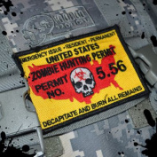 The official USA Made Tactical Zombie Hunting Permit hook and loop Morale Patch