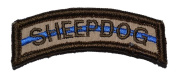 Sheepdog Thin Blue Line Tab Military Patch / Morale Patch - Desert Tan